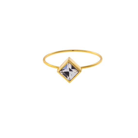 14K Gold Dipped Diamond Shaped Clear Crystal Ring Size 7