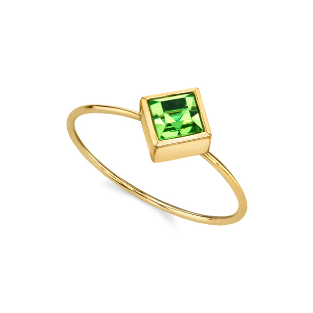 14K Gold Dipped Diamond Shaped Crystal Ring Size 7 Light Green