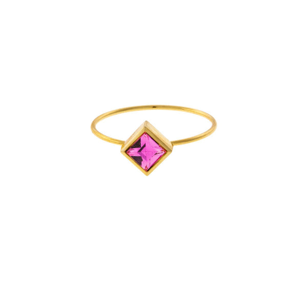14K Gold Dipped Diamond Shaped Pink Crystal Ring Size 7