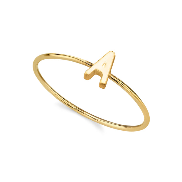 14K Gold Dipped Dainty Initial Letter Ring Size 7