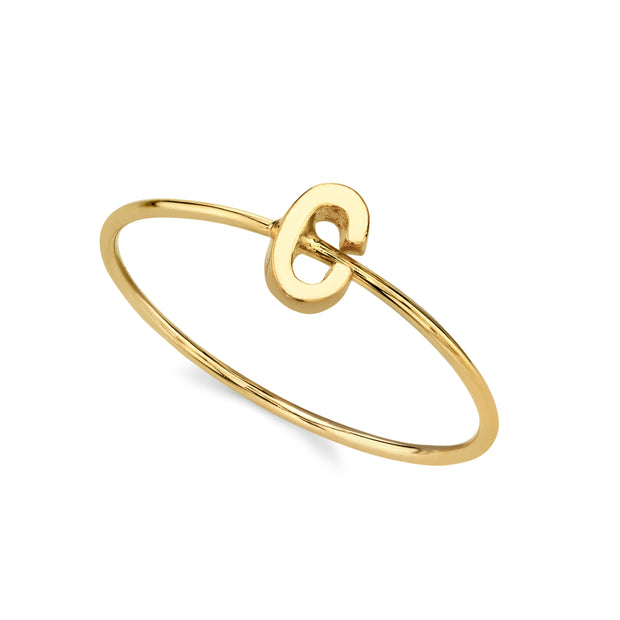 14K Gold Dipped Minimalist Initial Rings D