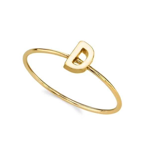 14K Gold Dipped Minimalist Initial Rings E
