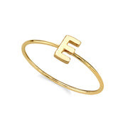 14K Gold Dipped Minimalist Initial Rings F