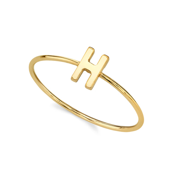 14K Gold Dipped Minimalist Initial Rings I