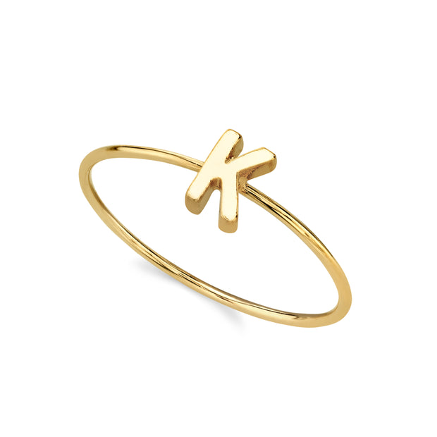 14K Gold Dipped Minimalist Initial Rings L