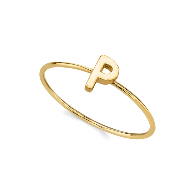 14K Gold Dipped Minimalist Initial Rings Q
