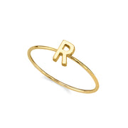 14K Gold Dipped Minimalist Initial Rings S