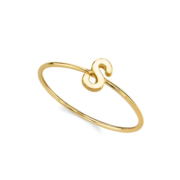 14K Gold Dipped Minimalist Initial Rings T
