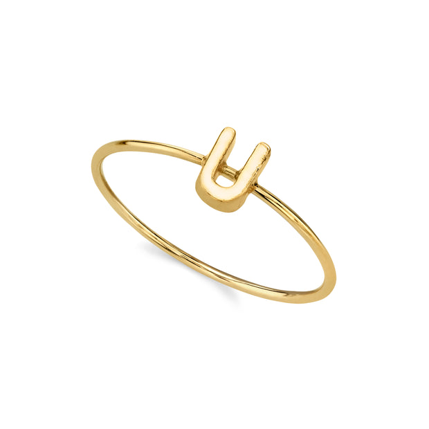 14K Gold Dipped Minimalist Initial Rings V