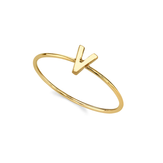 14K Gold Dipped Minimalist Initial Rings W