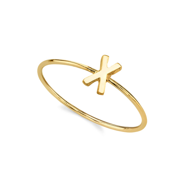 14K Gold Dipped Minimalist Initial Rings Y