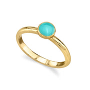 14K Gold Dipped Small Round Enamel Ring Size 7 Light Blue