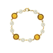 Gold Tone Channel Swarovski Crystals & Costume Pearl Link Bracelet Dark Green