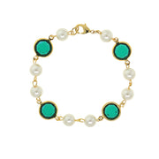 Gold Tone Channel Swarovski Crystals & Costume Pearl Link Bracelet DARK BLUE