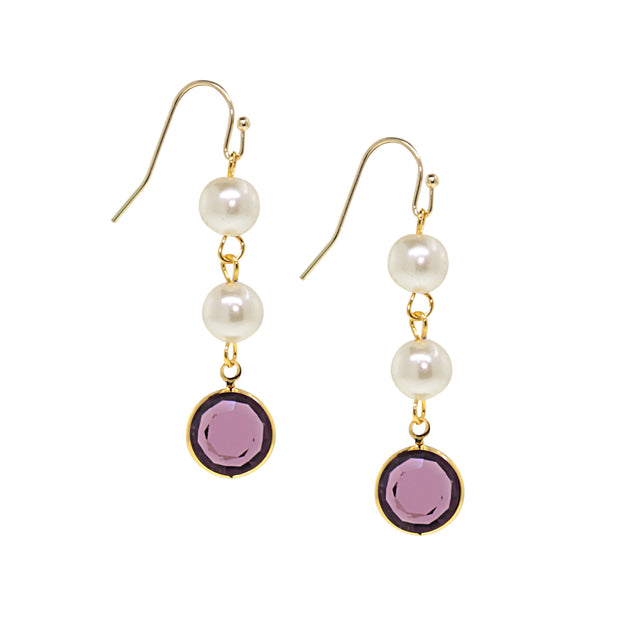 Gold Tone Channel Swarovski Crystals & Costume Pearl Drop Earrings Purple