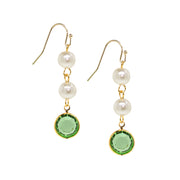 Gold Tone Channel Swarovski Crystals & Costume Pearl Drop Earrings Blue