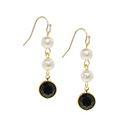 Gold Tone Channel Swarovski Crystals Costume Pearl Drop Earrings