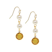 Gold Tone Channel Swarovski Crystals & Costume Pearl Drop Earrings Light Green