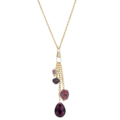 AMETHYST COLOR MULTI bead and Heart NECKLACE 30 INCHES