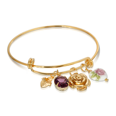 Purple Oval Flower Heart Charm Bangle Bracelet