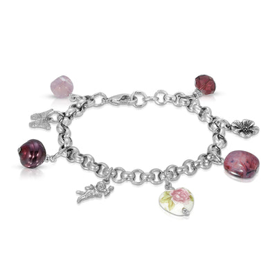 Purple Bead Angel Flower Heart Butterfly Charm Bracelet