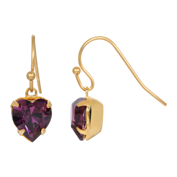 Purple Amethyst Crystal Swarovski Element Earrings