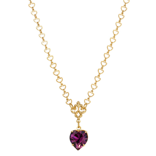 Heart Link Chain Amethyst Heart Drop Necklace 16 - 19 Inch Adjustable