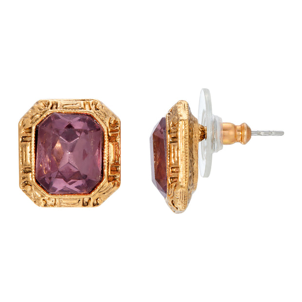 Gold Tone Octagon Purple Post Earring