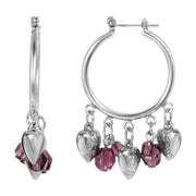 Hoop Earrings with Hearts and Amethyst Color Beads