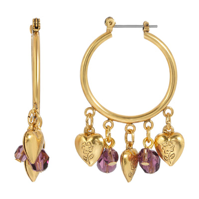 14k Gold Dipped Hoop with Hearts and Purple Beads Drop Earrings