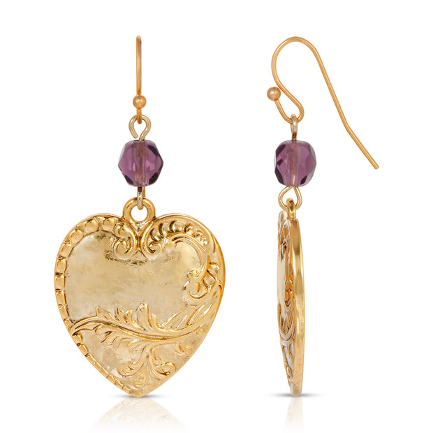 Gold Tone Purple Beaded Drop Heart Earring