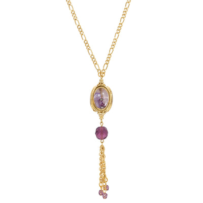 Amethyst Color Bead Drop Spinner Necklace 26 Inches