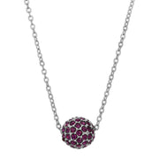 Amethyst Crystal Pave Ball Necklace 16 Inches
