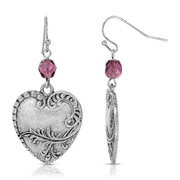 Silver Tone Purple Beaded Drop Heart Earring