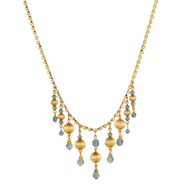 14K Gold Dipped Montana Blue Multi Bead Drop Necklace 16 - 19 Inches Adjustable