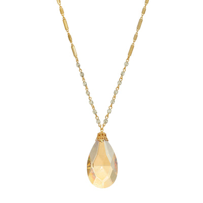 14K Gold Dipped Light Colorado Briolette Pendant Necklace 30 Inch