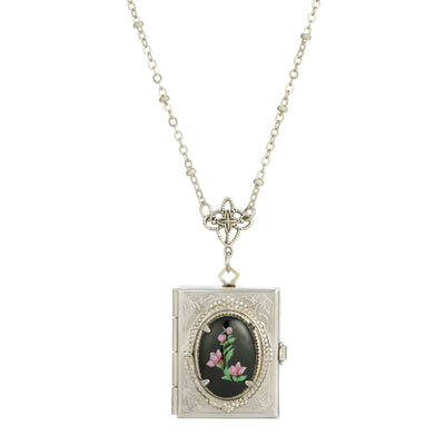 Black Flower Stone Rectangular 4 Way Picture Locket Necklace 28 Inch