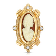 Women With Rose 14K Gold Dipped Carnelian Cameo Oval  Pin
