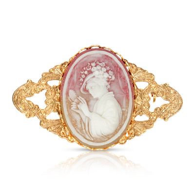 1928 Jewelry 14k Gold Dipped Victorian Women Pink Carnelian Bar Pin
