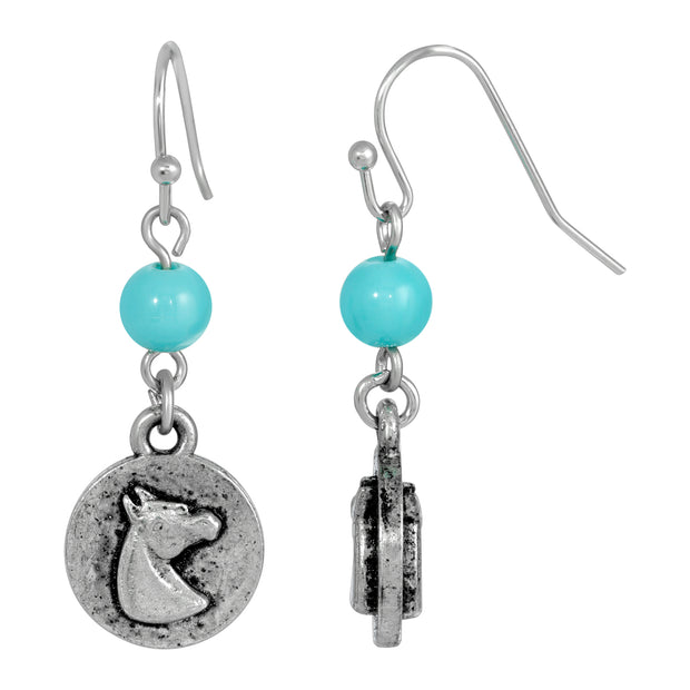 Silver Tone Turquoise Bead Horse Wire Earrings