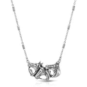 Pewter Triple Horse Head Necklace 16 - 19 Inch Adjustable