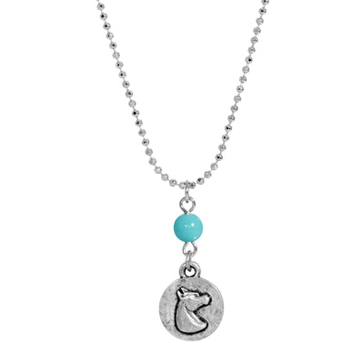 Silver Tone Turquoise Horse Head Necklace 18 inches