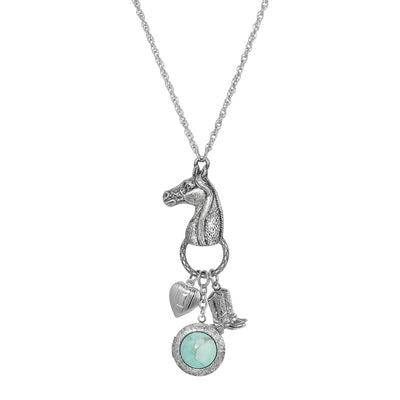 Silver-Tone Turquoise Horse Head with Heart and Boot Charm Necklace 28 Inch