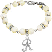 1928 Jewelry Mother Of Pearl Crystal Initial Bracelet Letter R
