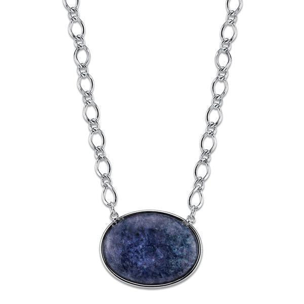 Blue Sodalite Semi-Precious Oval Stone Necklace