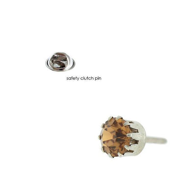 Silver Tone Light Topaz Color Swarovski Elements Tie Tack  /  Scarf Pin
