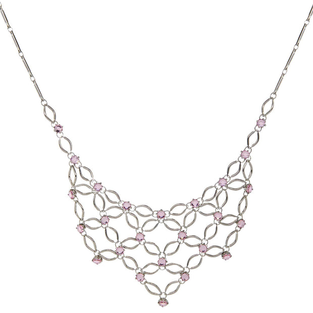 Silver Tone Pink Bib Necklace 16 Adj.