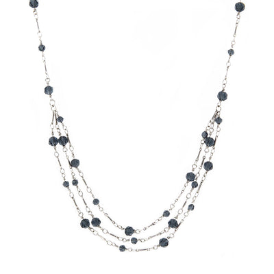 Silver Tone Blue Bead 3 Strand Necklace 16 - 19 Inch Adjustable