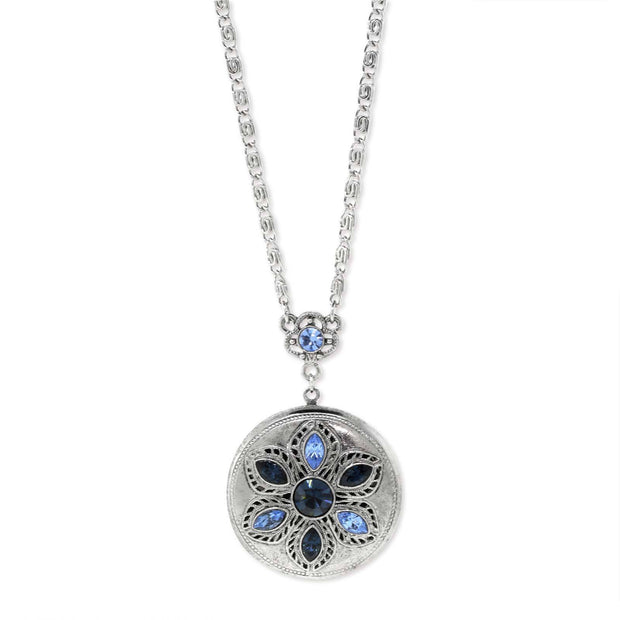 1928 Jewelry Silver Tone Blue Round Locket Necklace