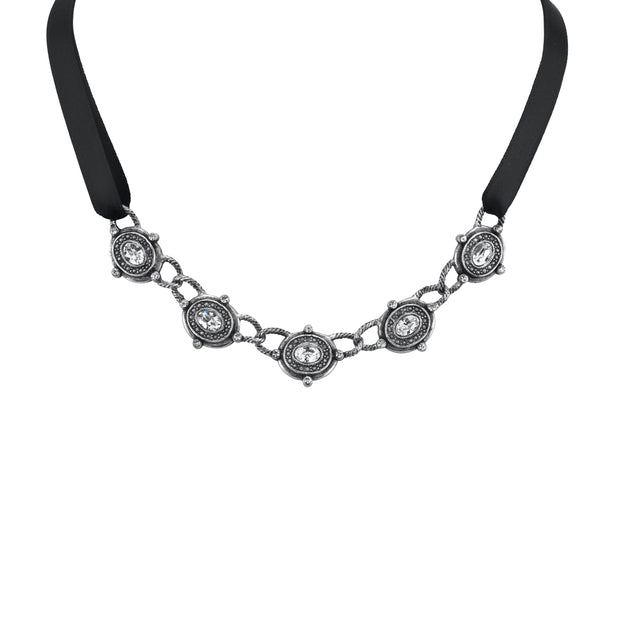 Silver Tone Black  Necklace 13 In Adj
